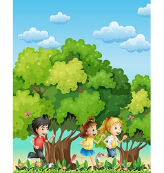 Three kids running outdoor vector