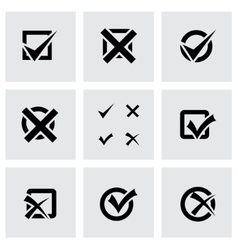 Black check marks icon set vector