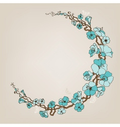 Round small blue flowers decoration or frame vector