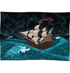 Galleon in the sea with storm vector