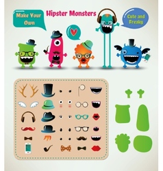 Freaky hipster monsters set vector