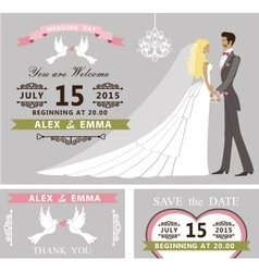 Wedding invitation set cartoon bride and groom vector