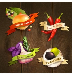 Herbs and spices badges set vector