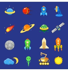 Space icons set of rocket galaxy planet ufo sun vector