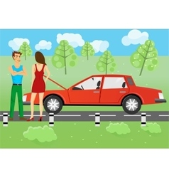 Man and woman standing near a car vector
