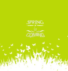 Green spring with coming soon floral vector