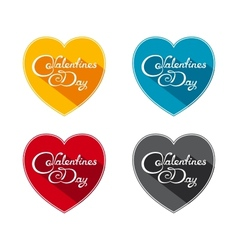 Flat valentines day icons vector