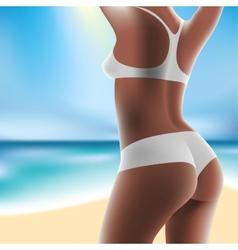 Woman at sea in bikini vector