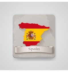 Icon of spain map with flag vector