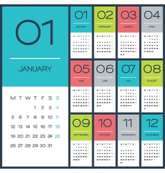2015 full calendar flat design vector