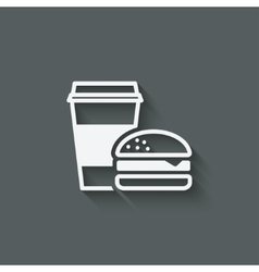 Coffee and burger fast food vector