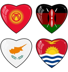 Set of images of hearts with the flags of kenya vector