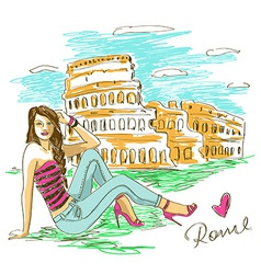 Fashion girl in rome vector