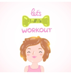 Cute cartoon woman with dumbbell vector