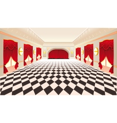 Interior with red curtains and tiled floor vector