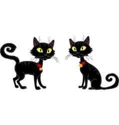 Halloween terrible black cat vector