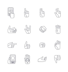 Hand icons set line contour vector