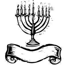 Jewish menorah and banner vector