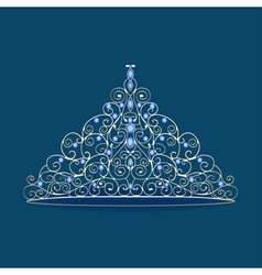Womens tiara crown wedding with blue stones on a b vector