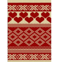 Knitted yarn swatch with slavic ornament vector