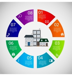 Town infographic template business concept vector