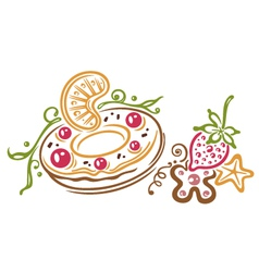 Donut fruits vector