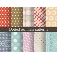 Dotted seamless patterns set vector