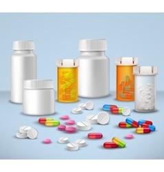 Pill bottles set vector