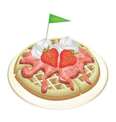 Waffle with strawberries and whipped cream vector