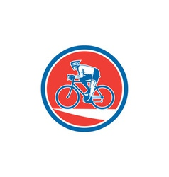 Cyclist riding mountain bike circle retro vector