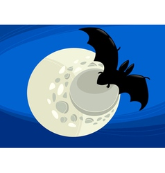 Bat at night cartoon vector
