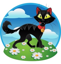 Black fun terrible cat on color background vector