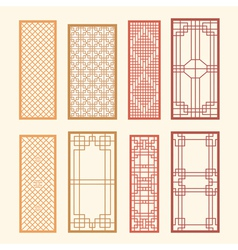 Korean old of window frame symbol sets vector