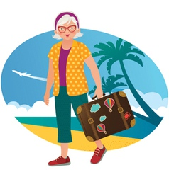 Elderly lady travels vector