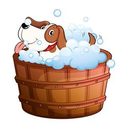 A cute puppy taking a bath vector