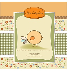 New baby announcement card with chicken vector