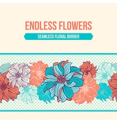 Hand-drawn flowers of dahlia seamless border vector