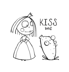Baby princess and frog asking for kiss coloring vector