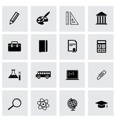 Black education icons set vector