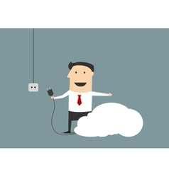 Cartoon businessman connecting personal cloud vector