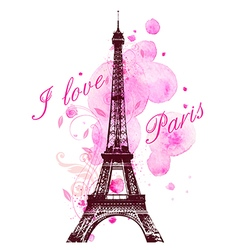 Pink watercolor blots and eiffel tower vector