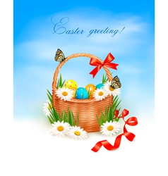 Holiday background with easter backet and eggs vector