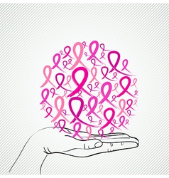 Breast cancer awareness human hand ribbon symbol vector