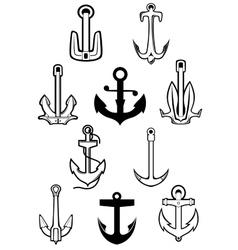 Marine themed set of ships anchors vector