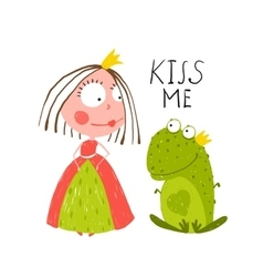 Baby princess and frog asking for kiss vector
