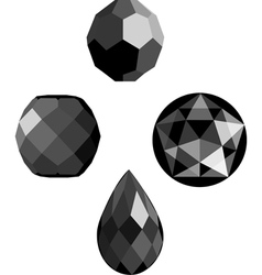 Onyx and jet faceted beads vector