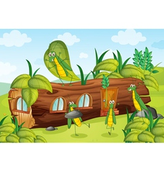 Grasshopper and wooden house vector
