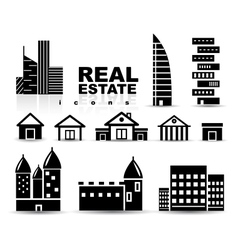 Black real estate  houses  buildings icon set vector