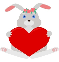 Gray rabbit with red heart vector