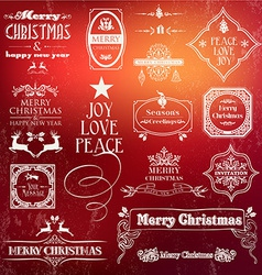 Christmas vintage label set vector